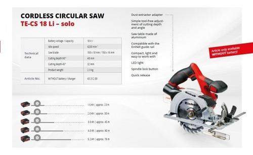 sierra circular inalambrica einhell te-cs 18+bat 4ah+carg