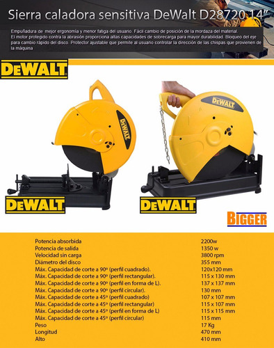 sierra cortadora  sensitiva dewalt d28720 3hp 2200 watts