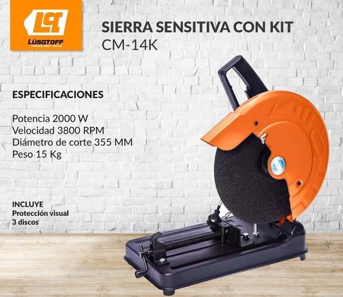 sierra cortadora sensitiva lusqtoff 355mm cm-14k 3 discos y