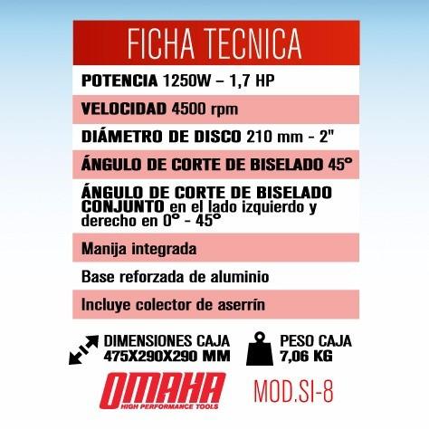 sierra ingletadora omaha 210 mm 1250 w 1,7 hp + disco