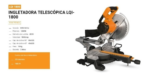 sierra ingletadora telescopica lusqtoff 250mm 1800w circular