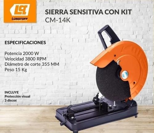 sierra sensitiva lusqtoff cm-14k + amoladora + discos cuotas