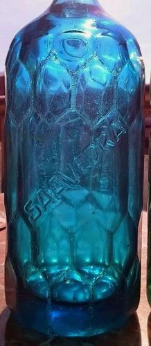 sifón de colección azul cristal art deco saavedra