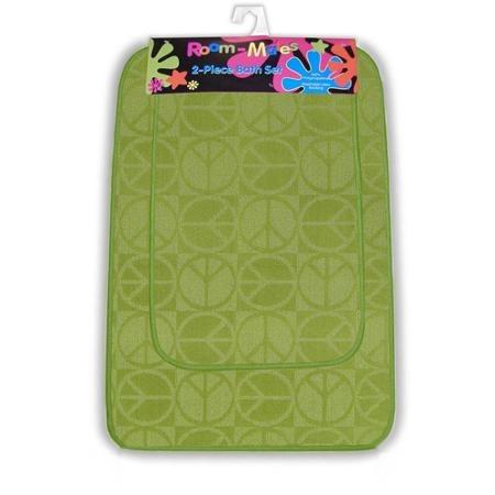 signo de la paz 2pc juego de alfombra de baño