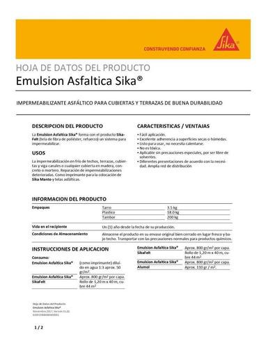 sika emulsión asfáltica (3.5 kg) t815007