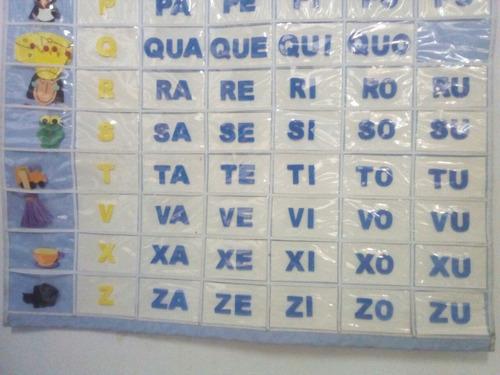 silabário todo em bagum resistente com placas móveis em eva.
