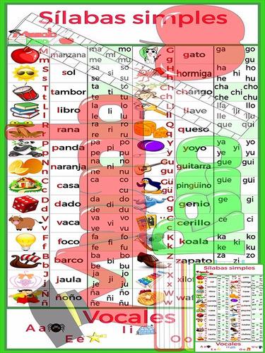 silabarios (silabas simples) para primaria u hogar .