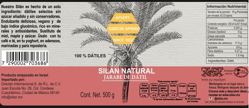 silan natural, jarabe de datil, 500 gr, caja de 12 frascos
