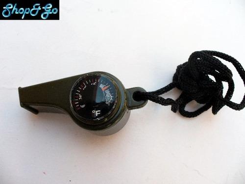 silbato de supervivencia con brujula y termometro