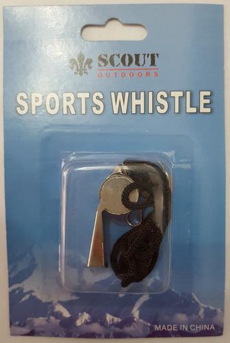 silbato scout metálico con cordon mod.988 boca ancha