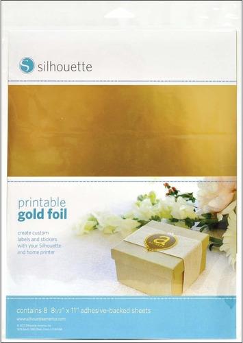 silhouette media-gld-adh etiqueta autoadhesiva, oro