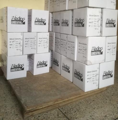 silicon cartucho transparente, blanco y negro 280ml aladino