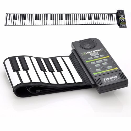 silicon flexible roll up piano + pedal + carregador + manual