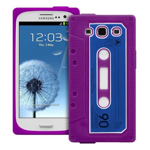 silicona samsung galaxy s3 disenio retro casette violeta