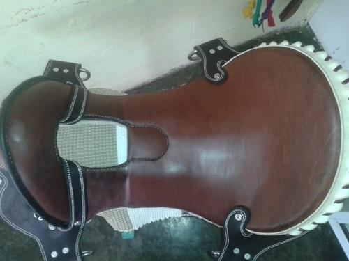 silla 14 para caballos sp blanco entorchado. fuste de coleo