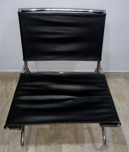 silla (2) de acero cromado & piel italianos 4 mil