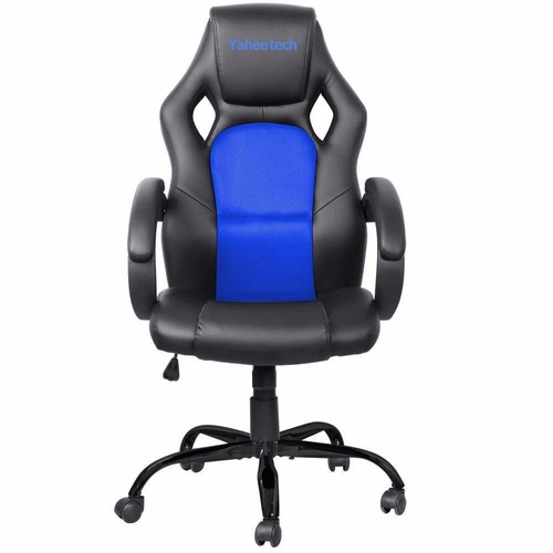 Silla ajustable de oficina gamer azul 3 en for Precio sillas gamer