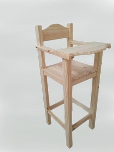 silla alta de bebé con bandeja para comer de pino macizo