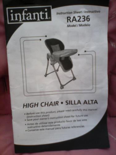 silla alta de comer para niña