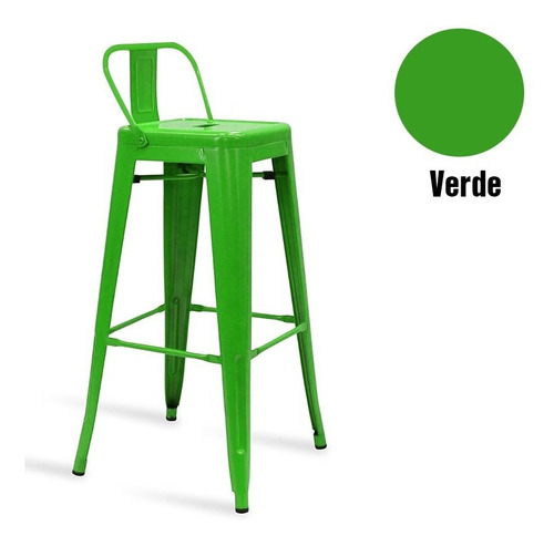 silla alta metal tolix opaca vintage verde /  fernapet