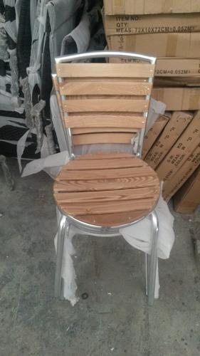silla aluminio y madera teka p/ bares y cafeterías yf-1022