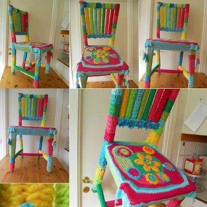 silla antigua intervenida al crochet diseños exclusivos 999