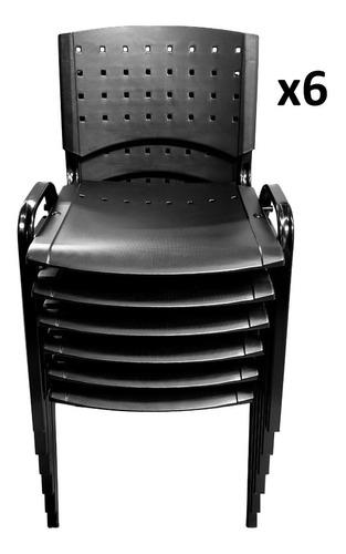 silla apilable fija plástica oficina reforzada pack x6 super fuertes con garantia de fabrica stock permanente
