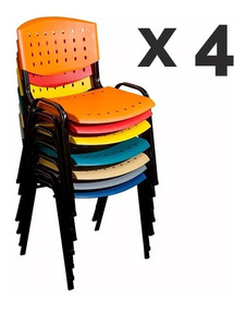 Oficina X Baires Apilable Plástica Reforzada Unida Silla 4 QxWCBoerd