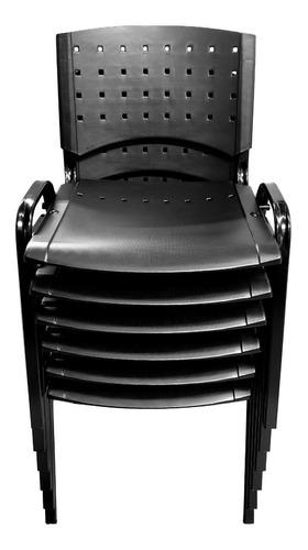 silla apilable plástica fija de oficina sala de espera iglesias consultorios acero y plastico reforzado