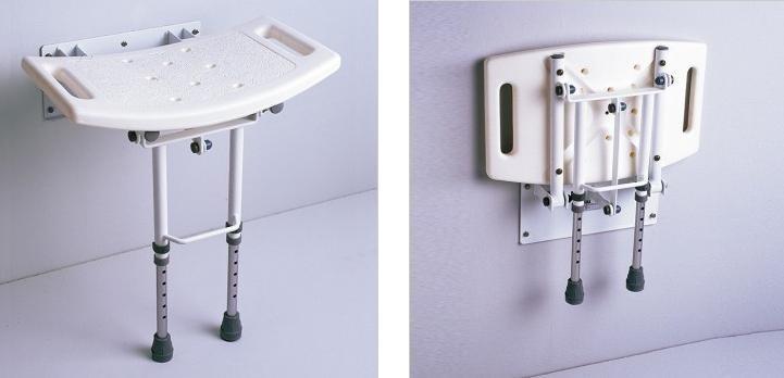 Silla banco ducha aluminio ligera resistente pared for Sillas para ducha plegables