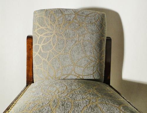 silla butaca dormitorio art deco 1940 nuevo tapizado caoba