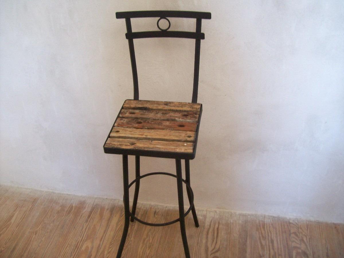 Silla butaca taburete alta de madera pique y hierro nuevas - Taburete de madera ...