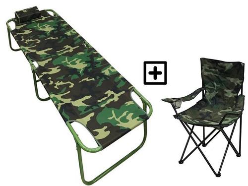 silla camping y catre plegable promo oferta precio por los 2