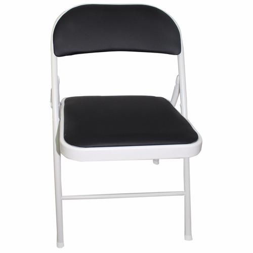 silla caño plegable tapizado negro modelo 80023