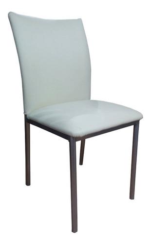 silla caño unicam iris cromado tapizado color hueso