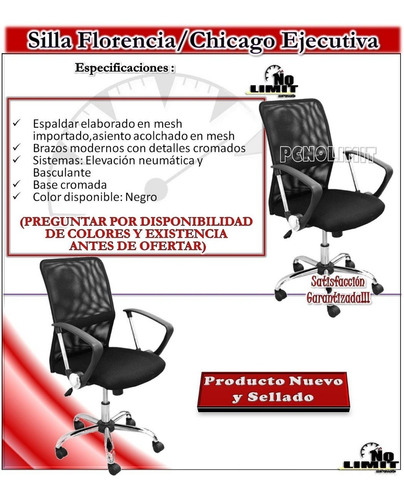 silla chicago ejecutiva, oficina sala pcnolimit mx