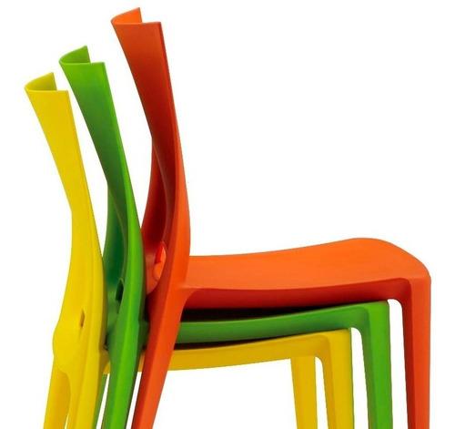 silla comedor diseño moderno plástica apilable pack 4 unid