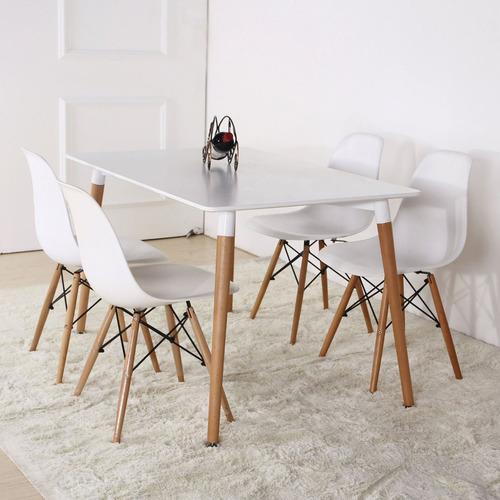 silla comedor eames patas  madera asiento plástico roja**10