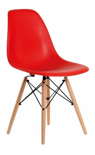 silla comedor eames patas  madera asiento plástico roja**9