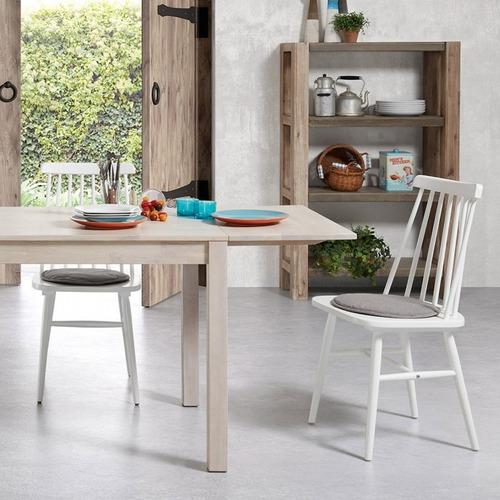 Silla comedor moderna madera color blanco tressia kavehome for Sillas comedor madera modernas