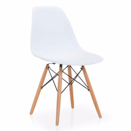 Silla De Comedor Plástico Patas Madera Diseño Eames Blanca - $ 997 ...