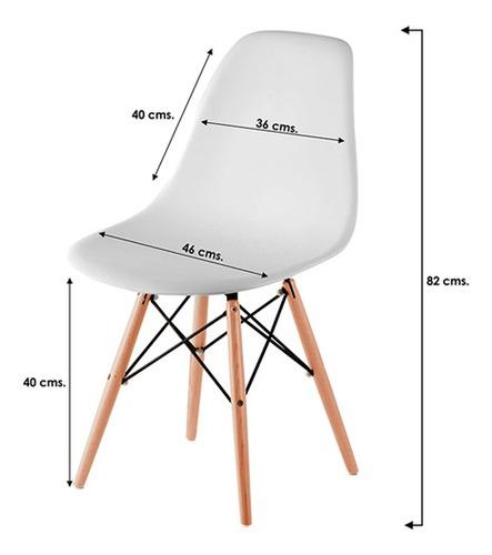 silla comedor plastico patas de madera diseño eames dsw