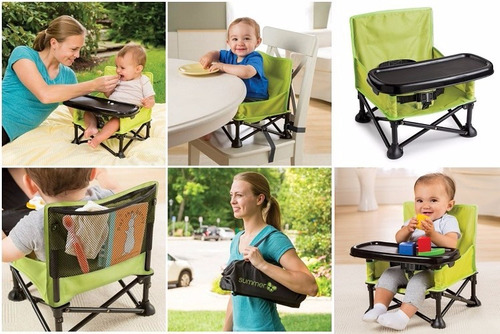 silla comer bebe booster portatil reposera pop n sit summer