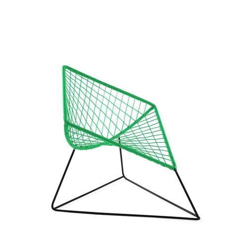 silla cometa verde olivo con estructura metálica negra