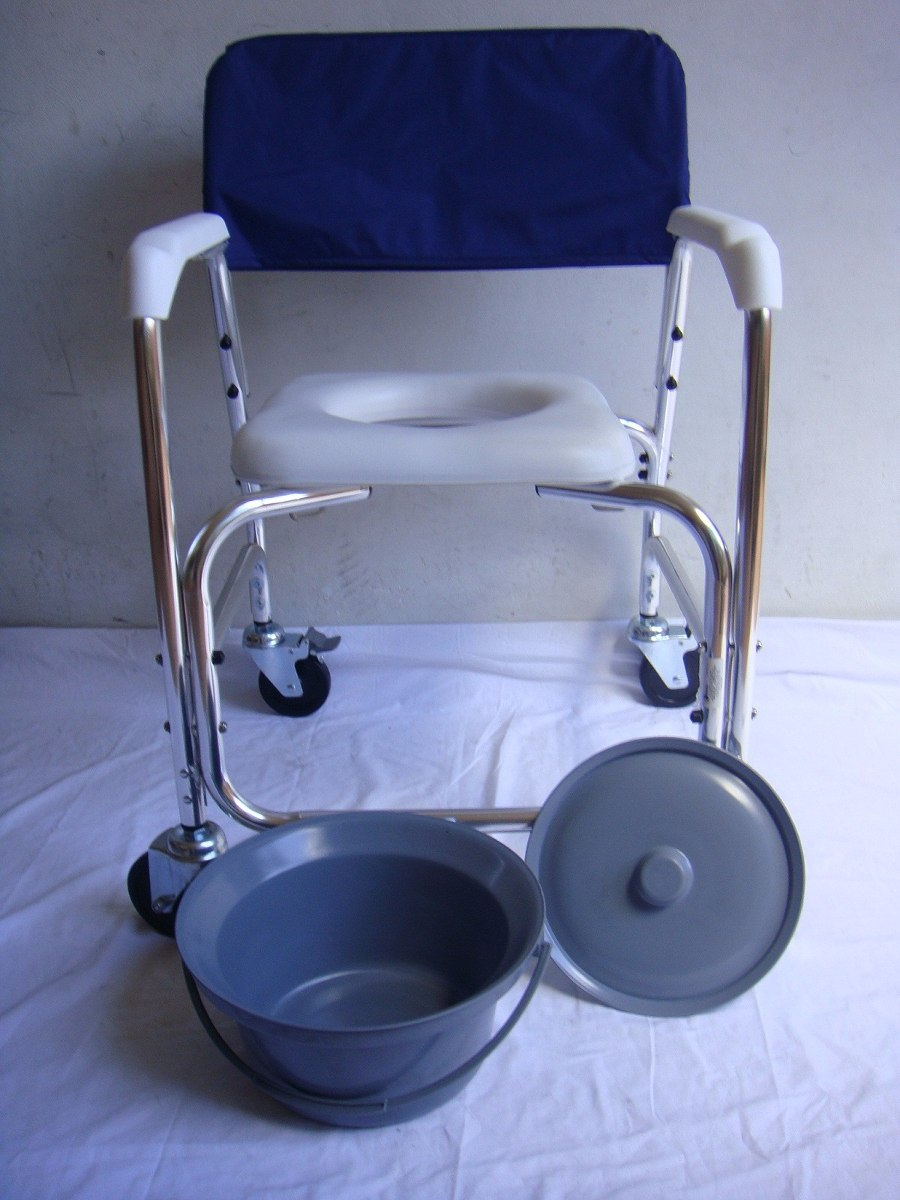 Silla c modo ducha de aluminio con ruedas desarmable for Sillas para ducha