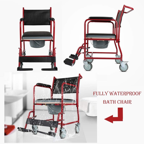 silla comodo para baño con 4 ruedas marca medical store