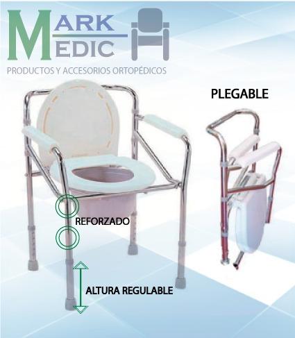 silla con inodoro portatil y plegable