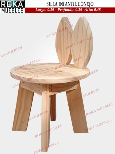 silla conejo retro infantil de niño pino