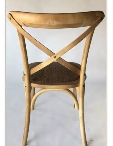 silla cross madera roble ratan de comedor - emuebles