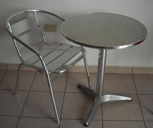 silla de aluminio para cafetería.